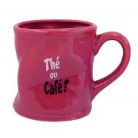 Mug THÉ OU CAFÉ Mug rose humoristique en céramique déformé