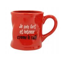 Mug Je suis fort et intense Mug rouge humoristique en céramique déformé