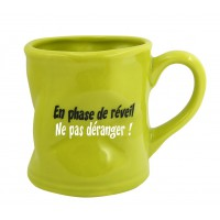 Mug EN PHASE DE REVEIL Mug vert humoristique en céramique déformé