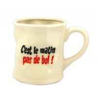 Mug PAS DE BOL ! Mug crème humoristique en céramique déformé