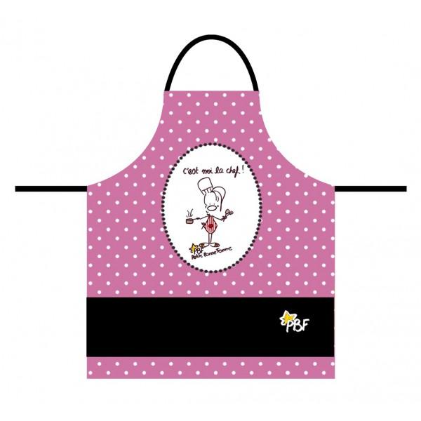 Tablier enfant petite bonne femme rose noir d co bd for Tablier cuisine humoristique