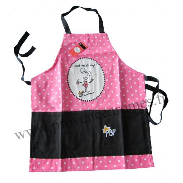 Tablier enfant petite bonne femme rose noir d co bd for Tablier de cuisine pour petite fille