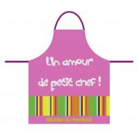 Tablier de cuisine pour enfant en coton rose Un amour de petit Chef