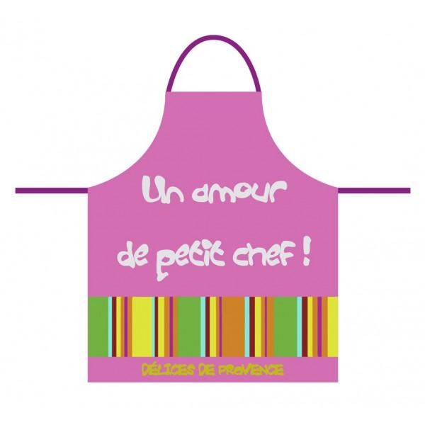 Tablier de cuisine rose pour enfant un amour de petit chef for Tablier de cuisine pour enfant