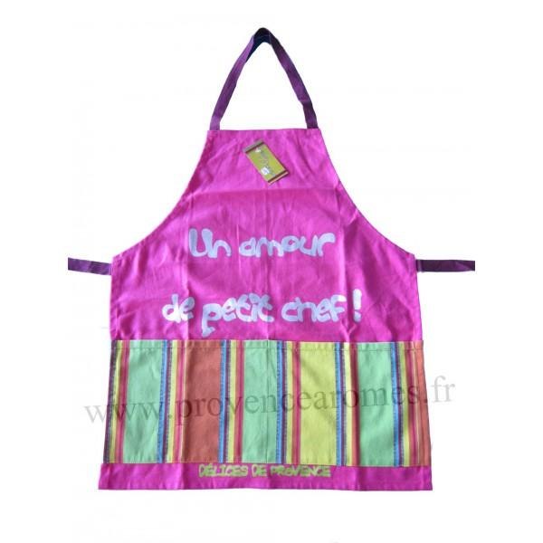 Tablier de cuisine pour enfant en coton rose un amour de for Tablier cuisine pour enfant