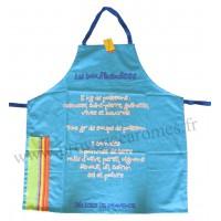 Tablier de cuisine La Bouillabaisse Tablier bleu en coton recettes du Sud