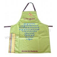 Tablier de cuisine La Fougasse Tablier vert en coton recettes du Sud