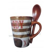Mug avec cuillère déco RUGBY XV L'esprit d'équipe
