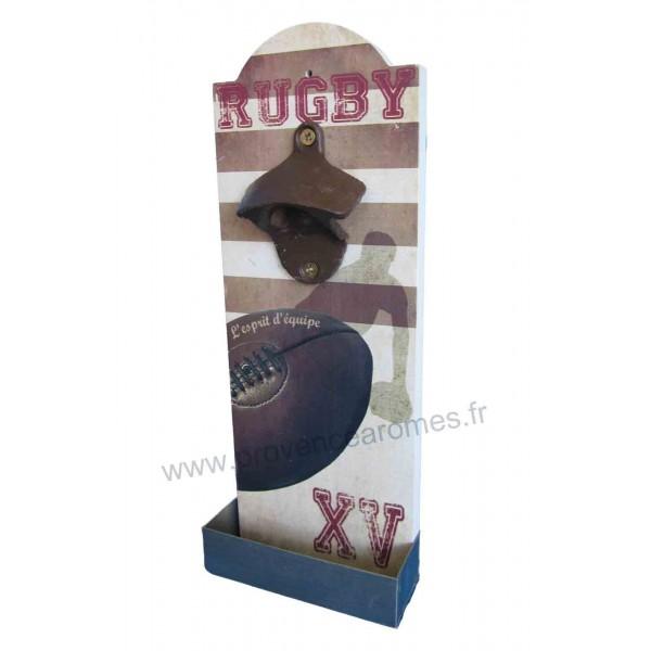 La Couleur Marron En Peinture : Décapsuleur mural déco Rugby XV avec récupérateur de