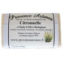 Savon Huile essentielle de Citronnelle, Géranium, Eucalyptus citriodara, Huile d'olive Bio Provence Arômes