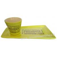 Service Apéritif ou Café gourmand Vert Anis motif Trésors de Provence