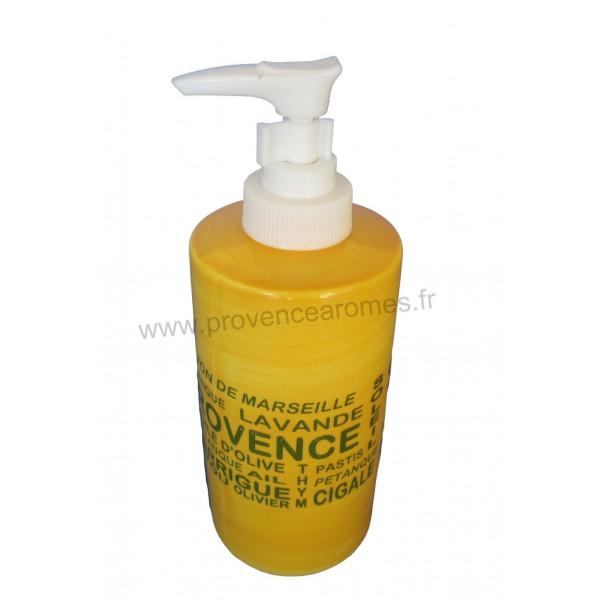 distributeur de savon liquide jaune d co inscriptions. Black Bedroom Furniture Sets. Home Design Ideas