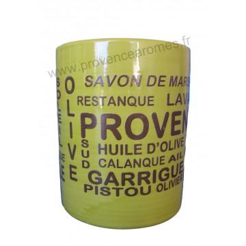 Pot ou mug en céramique Vert anis déco inscriptions Trésors de Provence