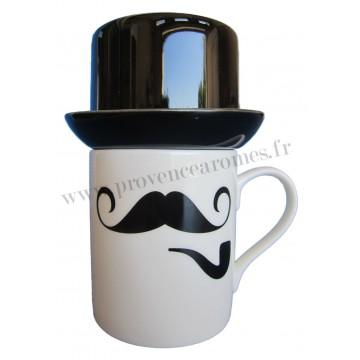 Mug Moustache, pipe et chapeau Haut de Forme