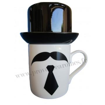 Mug Moustache, cravate et chapeau Haut de Forme