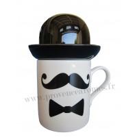 Mug Moustache, noeud papillon et chapeau Melon