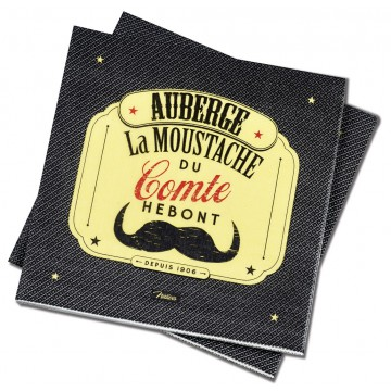 Serviettes en papier MOUSTACHE Natives déco rétro vintage