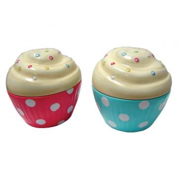 Boîte en forme de Cupcake en métal alimentaire Lot de 2 boîtes rose et turquoise à pois
