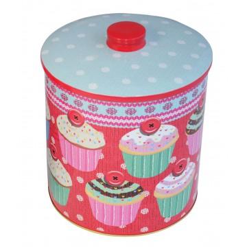 Boîte à bonbons ou biscuits en métal déco cupcake rétro grand modèle
