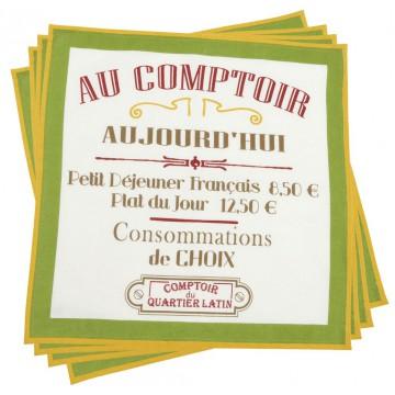 4 serviettes AU COMPTOIR Comptoir de Famille