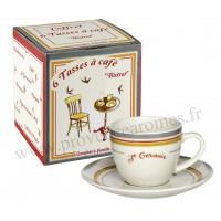 6 tasses à café BISTROT DE PARIS coffret Comptoir de Famille
