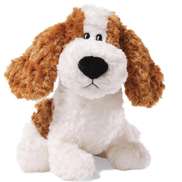 peluche petit chien tendre coquin blanc et marron feu provence ar mes tendance sud. Black Bedroom Furniture Sets. Home Design Ideas