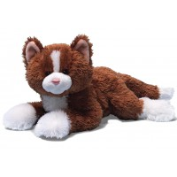 Peluche chaton MALIN CALIN petit chat marron et blanc