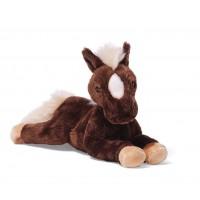 Peluche cheval marron et blanc