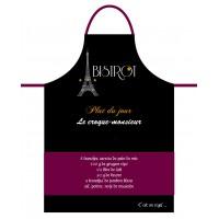 Tablier de cuisine homme CROQUE MONSIEUR Tablier noir en coton délices de France