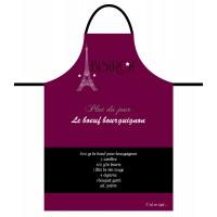 Tablier de cuisine homme BOEUF BOURGUIGNON Tablier noir en coton délices de France