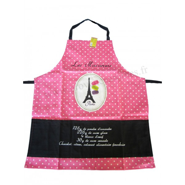 Tablier de cuisine macarons tablier rose en coton d lices for Tablier de cuisine plastifie
