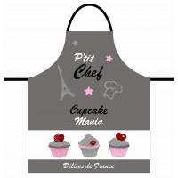 Tablier de cuisine enfant CUPCAKE Un amour de petit Chef gris