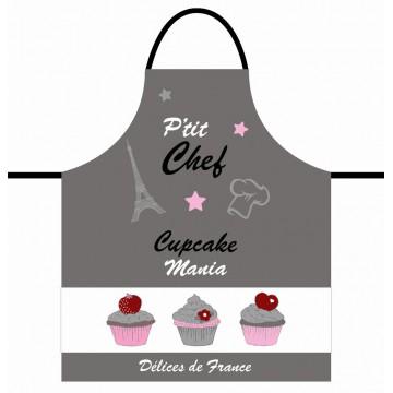 Tablier de cuisine enfant CUPCAKE P'tit Chef gris