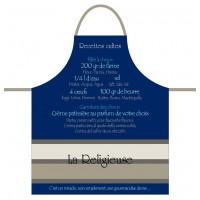 Tablier de cuisine LA RELIGIEUSE Tablier bleu en coton recettes de France