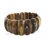 Bracelet Oeil de tigre pierres naturelles plaquettes rectangulaires bombées