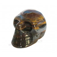 Crâne en Oeil de tigre pierre naturelle