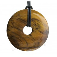 Pendentif donut Oeil de tigre pierre naturelle 20 mm