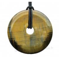 Pendentif donut Oeil de tigre pierre naturelle 60 mm