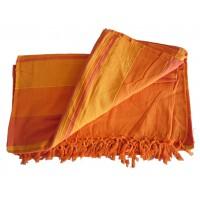 Grande Tenture Kérala Plaid couvre-lit orange carotte mandarine