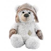 Peluche Ours blanc bonnet aviateur