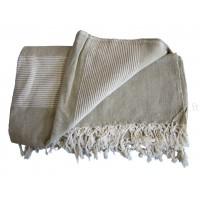 Grande Tenture Kérala plaid couvre-lit beige/lin
