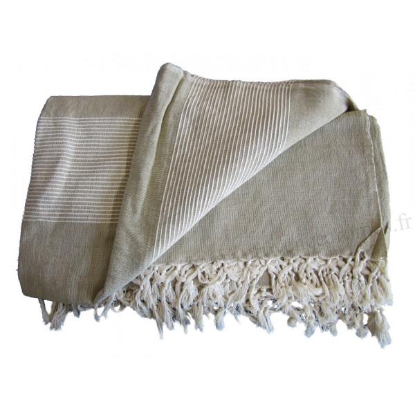 Grande tenture k rala plaid couvre lit beige lin for Grand jete de canape