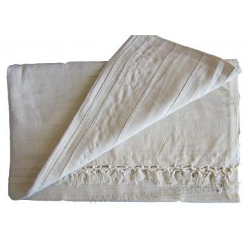 Grande Tenture Kérala Plaid couvre-lit Blanc cassé tissé grandes lignes