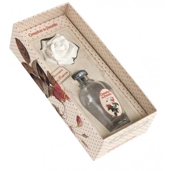 coffret vase en verre avec fleur de platre diffuseur de parfum d 39 ambiance comptoir de famille. Black Bedroom Furniture Sets. Home Design Ideas