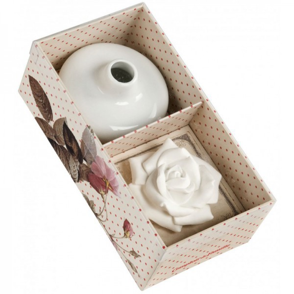 coffret vase en c ramique avec fleur de platre diffuseur. Black Bedroom Furniture Sets. Home Design Ideas