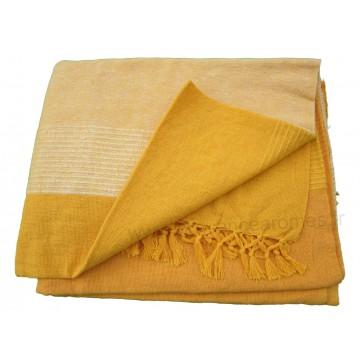 Tenture Kérala plaid couvre lit jaune Orangé   Provence Arômes