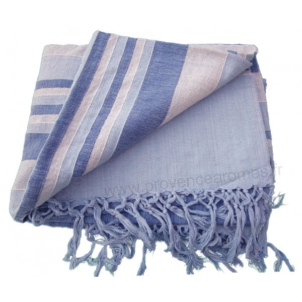 tenture k rala plaid couvre lit bleu clair et fonc petites bandes provence ar mes tendance sud. Black Bedroom Furniture Sets. Home Design Ideas