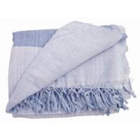 Tenture Kérala plaid couvre-lit Bleu clair et foncé grandes bandes
