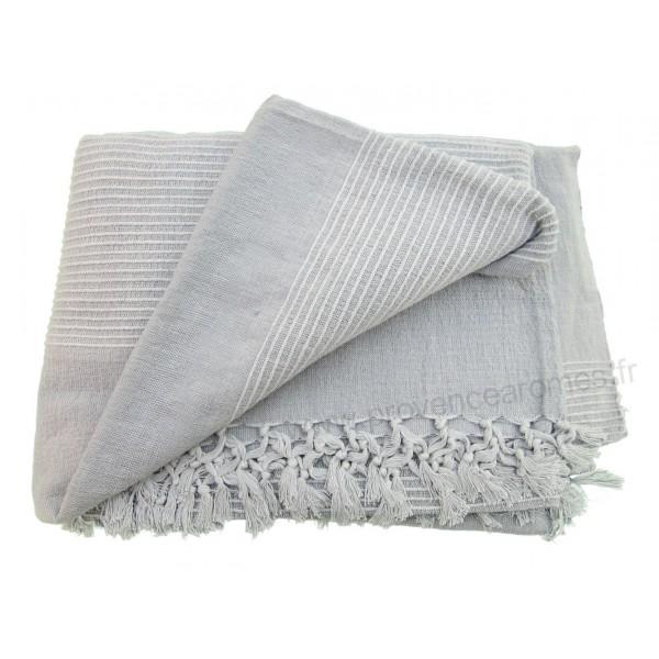tenture k rala plaid couvre lit gris provence ar mes tendance sud. Black Bedroom Furniture Sets. Home Design Ideas