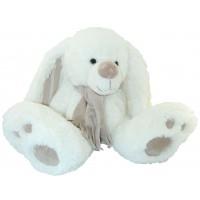 Peluche lapin blanc avec écharpe grande taille